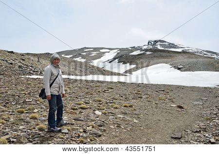 Hiker On The Way To The Peak Veleta In The Sierra Nevada
