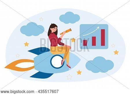 Explore New Spheres Concept. Ambitious Businesswoman Flies On Rocket And Looks Through Telescope. Se