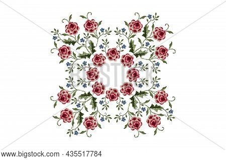 Square-shaped Embroidery Of Bouquets With Flowers Of Red-pink Roses With Leaves, Delicate Violets An