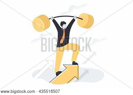 Tough Business Person Lifting Heavy Barbell Of Coins. Strong Man Making Effort, Reaching Up As Metap