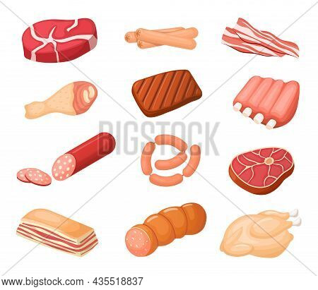 Different Meat Cartoon Products Vector Set. Chicken, Sausages And Bacon. Steaks, Pork And Ribs Colle