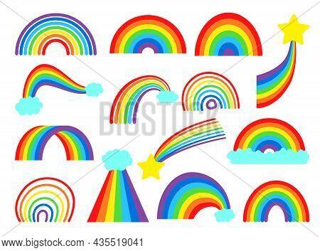 Cartoon Rainbow Vector Collection Set. Colourful Rainbows, Stars And Cloud With Rainbow Colors Tail.