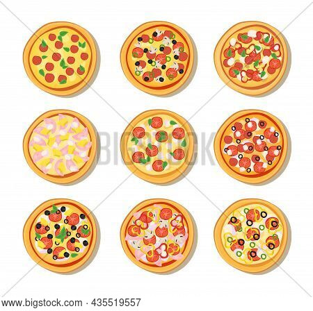 Pizza From Different Restaurants Menu Isolated On Background. Collection Of Pizza With Various Ingre