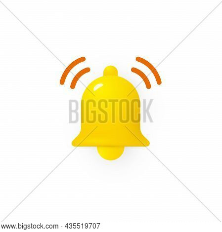 3d Bell Icon, Infographic And Interface Element For Notification And Subscribtion Button, Sound Sign