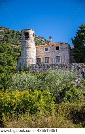 Podostrog, Budva, Montenegro - September 23, 2021: Territory Of Monastery Podmaine Or Podostrog, Bud