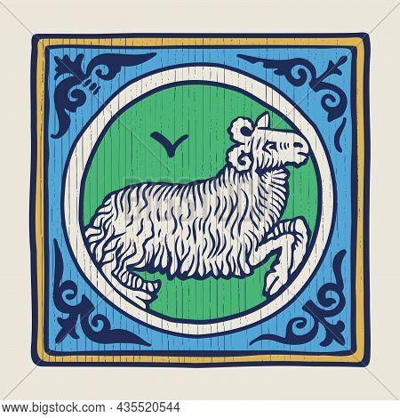Ram Zodiac Medieval-style Illustration. Dim Colored Square Emblem Perfect For T-shirts, Retro Manusc