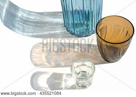 Trendy Pattern Made With Glasses And Shadows On Gray White Background. Sunlight Through Glass. Glitt