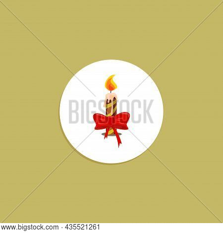 Christmas Candle Flat Icon. Christmas Candle Clipart On White Background.
