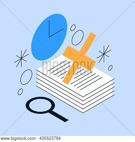 Declined Paper Documents With Cross Vector Isometric Illustration. Stack Of Disapproval Blank Sheets