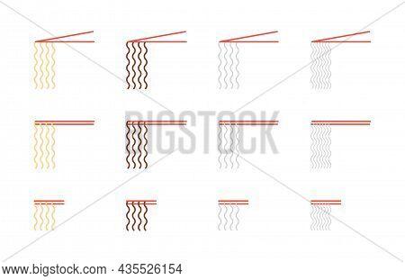 Chopsticks Holding Noodles Icons Set. Udon, Soba, Rice, Glass Different Noodle Types Illustrations C