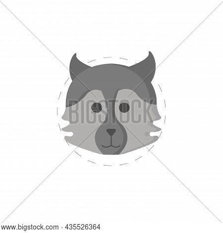 Wolf Flat Illustration. Wolf Clipart On White Background.