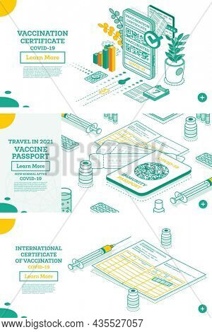Vaccination Certificate on Screen of Smartphone. Isometric International Certificate of Immunization. Health Passport with QR-code. Immunity Passport with Tickets. Syringe and Vial of Vaccine.