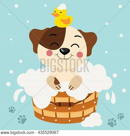 Scalable Vectorial Representing A Cute Dog Taking A Bath In Wooden Tub With Duck On Head, Colored Ve