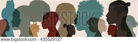 Silhouette Face Head In Profile Ethnic Group Of Black African And African American Men And Women. Id
