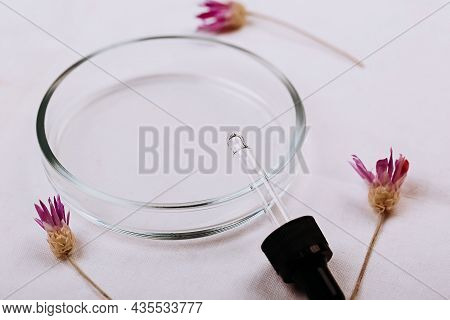 Abstract Cosmetic Laboratory. White Background Organic Flax. Natural Cosmetics For Care, Homeopathy.