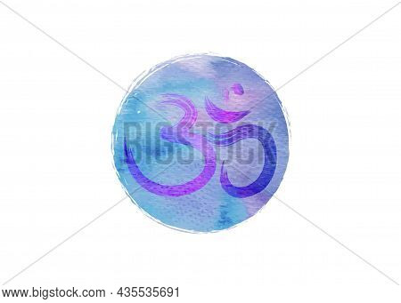 Om, Aum Colorful Symbol, Watercolor Style. Om Ink Icon Chinese Calligraphy. Samsara Logo Design. Vec