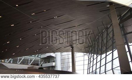 Munich, Germany - 12 Oct 2015: Detail Of The Roof Construction Of Bmw Welt Munich, The Delivery And