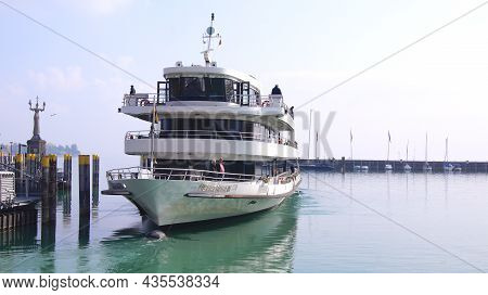 Konstanz, Germany - 14 October 2015: Excursion Boat In The Harbour Of Konstanz For A Round Trip Acro