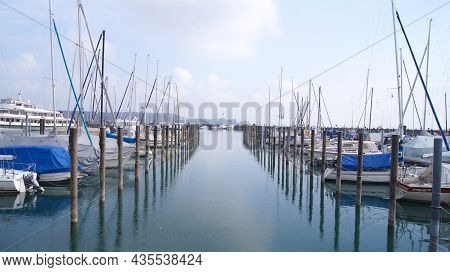 Konstanz, Germany - 14 October 2015: Harbour With Small Boats And Sailing Yachts Of Konstanz At Lake