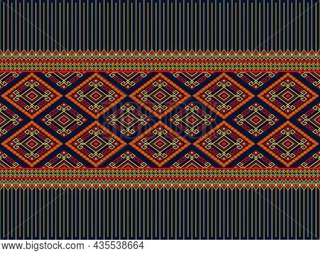 Yellow Red Ethnic Or Tribe Seamless Pattern On Blue Background In Symmetry Rhombus Geometric Bohemia