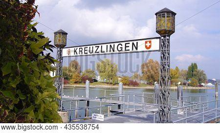 Kreuzlingen, Switzerland - 14 Oct 2015: Kreuzlingen Harbour Promenade And View Of Lake Constance