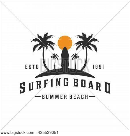 Surfing Beach Logo Vintage Vector Illustration Template Icon Design. Paradise Retro Symbol With Typo