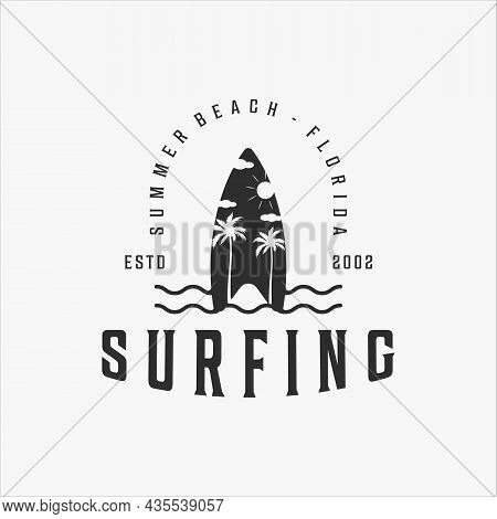 Surfing Beach Logo Vintage Vector Logo Illustration Template Icon Design. Paradise Retro Symbol With