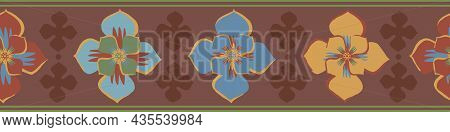 Medieval Style Stylized Floral Vector Border Background. Border Of Hand Drawn Flower Motifs With Bro