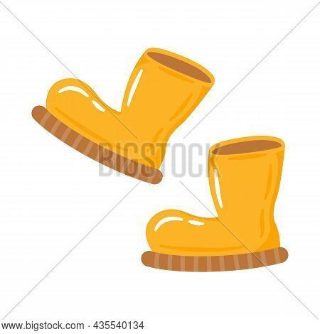 Cute Cartoon Yellow Rubber Boots Flat Vector Illustration. Autumn Footwear For Rainy Weather Isolate