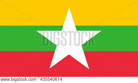 The National Flag Of Myanmar Or Burma, Officially The Republic Of The Union Of Myanmar, Is A Country