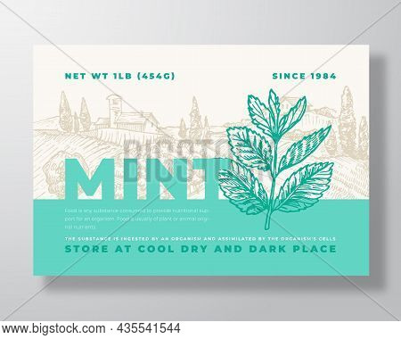 Fresh Local Mint. Food Label Template. Abstract Vector Packaging Design Layout. Modern Typography Ba