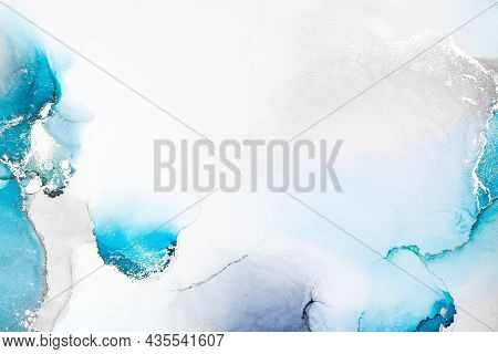 Blue Silver Abstract Background Of Marble Liquid Ink Art Painting On Paper . Image Of Original Artwo