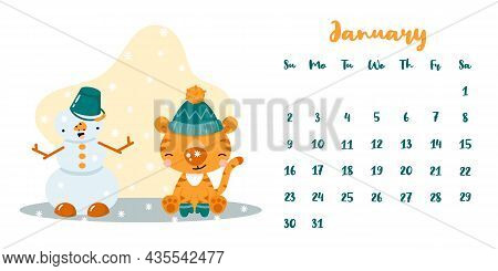 Horizontal Vector Calendar Template For January 2022 With Cute Cartoon Tiger And Snowman. The Year O
