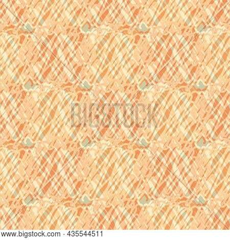 Abstract Knitted Vector Pattern Texture Background. Orange Backdrop With Irregular Loops Of Crochet