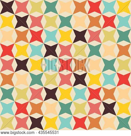 Geometric Pattern Four-pointed Star And Octagon Shape. Seamless Abstract Background. Retro Tones. Te