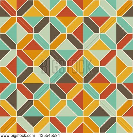 Square Geometric Pattern. Seamless Abstract Background. Retro Tones. Texture Design For Publications