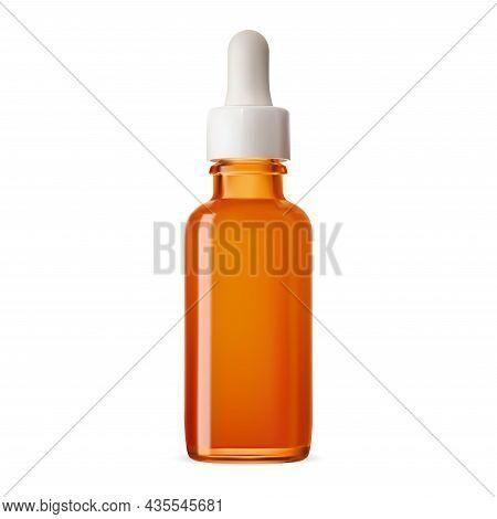 Dropper Bottle. Amber Glass Essential Oil Bottle Mockup. Brown Eyedropper Flacon For Nasal Extract,