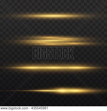 Horizontal Light Rays, Flash Yellow, Glow Beams.