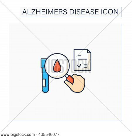 Tests Color Icon. Researching Blood Status. Laboratory Analysis On Blood Sample.alzheimer Diseases.