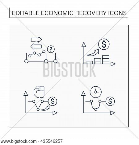 Economic Recovery Line Icons Set. U, V Shaped Recovery, Initial Expansion. Economy Variations. Growt