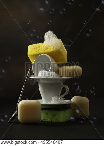 Zero Waste Home Kitchen Cleaning Concept. Colored Sponges Kitchen Dishwashing Sponge, Eco Safe Soap.