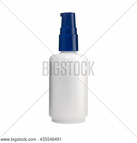 Pump Jar. Face Cosmetic Serum Bottle, Skin Care Product Mockup. Airless Dispenser For Aromatic Essen