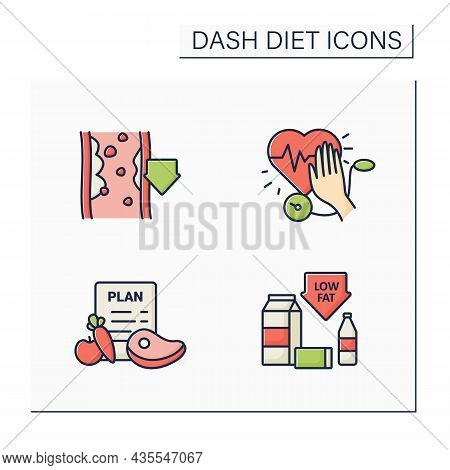 Dash Diet Color Icons Set. Stop Hypertension, Low-fat, Eating Plan, Reducing Cholesterol. Healthy Fo