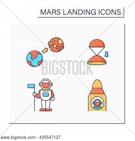 Mars Landing Color Icons Set. Uninhabited Planet. Astronaut, Spaceship, Mars Mission, Descend Rover.