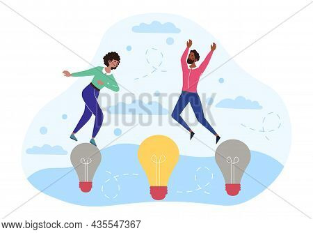 Business Transformation Concept. Characters Jump On Glowing Light Bulb. Metaphor Of Innovation In Co