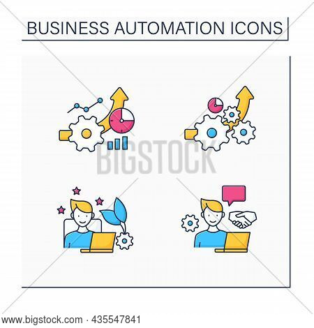 Business Automation Color Icons Set. Increased Efficiency, Favorite Job, Open Collaboration, Greater