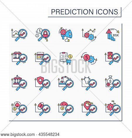 Predictive Analytics Color Icons Set. Collating Historical, Real-time Data About Customers. Influenc