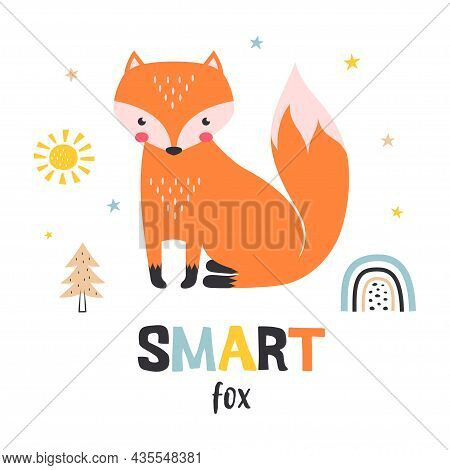 Card With Cute Fox And Lettering Isolated On White Background, Cute Cartoon Fox Print, Childish Prin