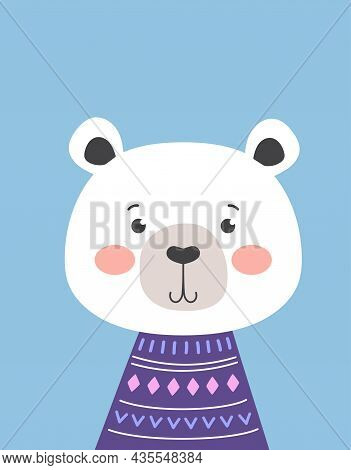 Childish Card With Cute Bear In Sweater Isolated On Blue Background, Vector Illustration For Any Des