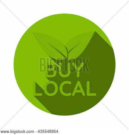 Green Round Buy Local Sticker Or Sign With Leaves, Vector Illustration